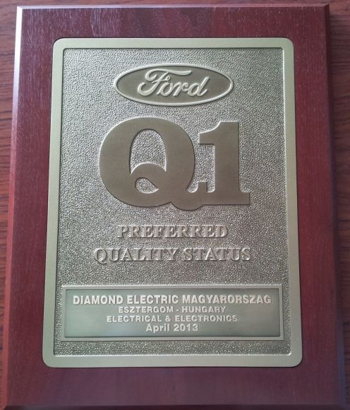 Q1 Preferred Quality Status Certificate - Ford Motor Company